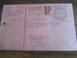 CARTE RECEPISSE Avec Taxe Payée En Numéraire Oblitérée MOLENBEEK 2 CARTES-RECEPISSES (bilingue) En 1955.(rare!) - Otros