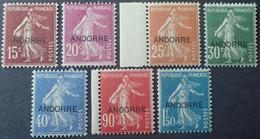 R1311/2 - 1931 - ANDORRE FR. - TYPE SEMEUSE FOND PLEIN - N°7 à 13 NEUFS** - Cote (2020) : 302,00 € - Ungebraucht