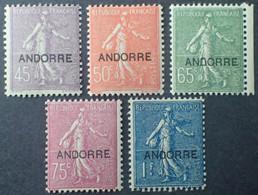 R1311/3 - 1931 - ANDORRE FR. - TYPE SEMEUSE FOND LIGNE - N°14 à 18 NEUFS** - Cote (2020) : 301,50 € - Ungebraucht