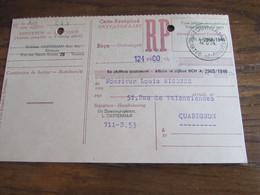 CARTE RECEPISSE Avec Taxe Payée En Numéraire Oblitérée TOURNAI 3 CARTES-RECEPISSES En 1954 (rare!) (2 Trous D'archives) - Otros