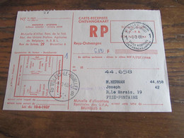 CARTE RECEPISSE Avec Taxe Payée En Numéraire Oblitérée ST GILLES (BRUX) 1 CARTES-RECEPISSES (bilingue) En 1968.(rare!) - Otros