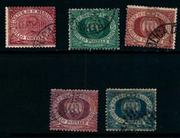 20821) SAN MARINO-Cifra E Stemma In Cornice Ovale - 30 Dicembre 1894- 5 VALORI USATI - Saint-Marin