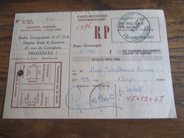 CARTE RECEPISSE Avec Taxe Payée En Numéraire Oblitérée BRUXELLES 34 CARTES-RECEPISSES (bilingue) En 1967.(rare!) - Otros