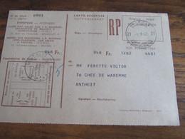 CARTE RECEPISSE Avec Taxe Payée En Numéraire Oblitérée BRUXELLES 21 CARTES-RECEPISSES (bilingue) En 1962.(rare!) - Otros