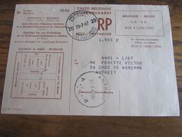 CARTE RECEPISSE Avec Taxe Payée En Numéraire Oblitérée BRUXELLES 20 CARTES-RECEPISSES (bilingue) En 1967.(rare!) - Otros