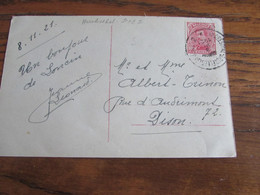 Carte Fantaisie Oblitérée Par L'AMBULANT HERBESTHAL-BRUXELLES 2 (bilingue) En 1921 - Ambulante Stempels