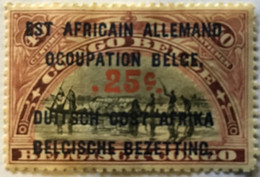 1922? Type Mols Neuf Yt:BE-CD 68? Surch. Rouge 25c Noires Est Africain Allemand + Occupation Belge + Duitch Oost Africa - Belgian Congo