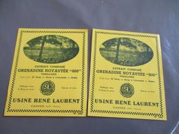 Lot De 2 Etiquette  Extrait Grenadine Usine Rene Laurent Cannes - Other