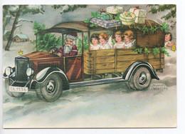 MODERN CHRISTMAS POSTCARD FINLAND - HANNES PETERSEN - SANTA CLAUS - ANGELS - USED Year 2000 - Petersen, Hannes