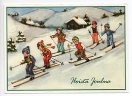 MODERN CHRISTMAS POSTCARD FINLAND - HANNES PETERSEN - CHILDREN ON SKI'S - USED 2009 - Petersen, Hannes