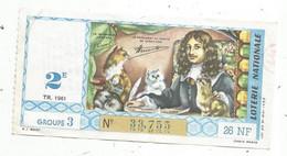 JC , Billet De Loterie Nationale,  2 E, Groupe 3, Troisième Tranche 1961, 26 NF, Colbert - Lottery Tickets