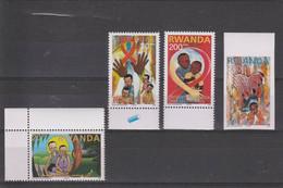 V] Série Set ** Rwanda Enfants SIDA Children AIDS 2003 - 20, 30, 200 F +  500 F NON Dentelé / Perf + 500 F IMPERF - Health