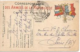 """CARTE EN FRANCHISE  /  Cachet """" MARINE FRANÇAISE SERVICE A LA MER """" / Drapeaux Stern Graveur /  Envoi De TOULON En 1915 - FM-Karten (Militärpost)"""