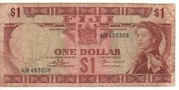 FIJI  1 Dollar   P71a      ( ND  1974   Queen Elizabeth II - Januca Beach On Back ) - Figi