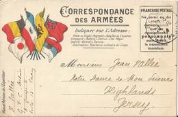 CORRESPONDANCE  DES  ARMÉES  /  Envoi  En 1914  De  CAEN  à  HIGHLANDS  ( JERSEY )  /  Drapeaux - Military Service Stampless
