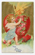 Bel Ange Blond. Cupidon Et Son Arc. Coeur Rouge Enflammé Carte Gaufrée.rehauts De Dorure. Jolie Carte - Angeli