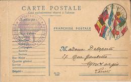 CARTE  FRANCHISE  MILITAIRE  /  Envoi  En  1919  à  MONTARGIS  ( Loiret )  /  Drapeaux /  Cachet  Militaire - FM-Karten (Militärpost)