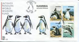 Namibia Mi# Block 27 Used On FDC - Fauna Penguins - Namibia (1990- ...)