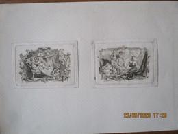 2 IMAGES TRES ANCIENNES PAR COCHIN JILUIS  LE FESSARD CUPIDON ET HAREM 8cm/6cm - Autres