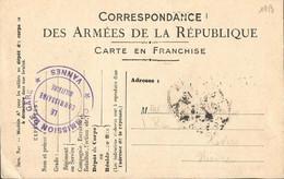 CARTE  FRANCHISE  MILITAIRE  /  Envoi De  VANNES  En 1915  à  NEVERS  ( Niêvre )  / Cachet  :  Commission De Gare VANNES - FM-Karten (Militärpost)