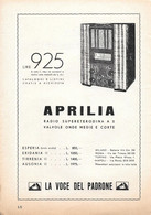 Aprilia La Radio Supereterodina A 5 Valvole. Advertising 1935 - Prenten & Gravure