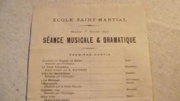 LIMOGES,  Ecole Saint Martial , Séance Musicale Et Dramatique, 1892 - Programas