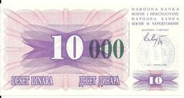 BOSNIE HERZEGOVINE 10000 DINARA 1993 UNC P 53 G - Bosnia Erzegovina
