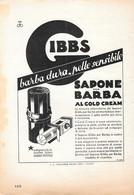 Barba Dura, Pelle Sensibile.. Sapone Da Barba Gibbs. Advertising 1935 - Prenten & Gravure