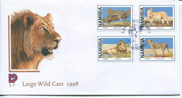 Namibia Mi# 927-30 Used On FDC - Fauna Wild Cats - Namibia (1990- ...)