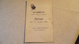 LA MAROTTE, Programme Du 31 Mars 1902, Athénée St Germain - Programas