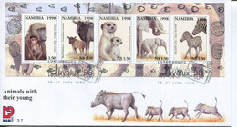 Namibia Mi# Block 43 Used On FDC - Fauna - Namibia (1990- ...)
