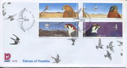 Namibia Mi# 986-9 Used On FDC - Fauna Birds - Namibia (1990- ...)
