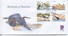Namibia Mi# 990-3 Used On FDC - Fauna Birds - Namibia (1990- ...)