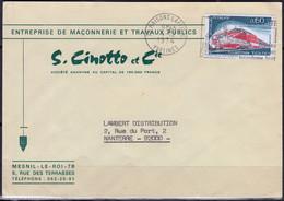 TURBOTRAIN TGV 001 Y.et.T. Num 1802 SEUL Sur Enveloppe PUB  De 78 MAISONS LAFFITTE Le 4 12 1974 Pour  92000 NANTERRE - Marcophilie (Lettres)
