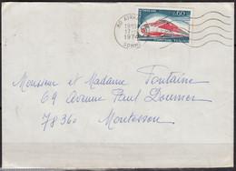 TURBOTRAIN TGV 001  Y.et.T. Num  1802 SEUL Sur Enveloppe  De 80 AIRAINES  Le 17 10 1974 Pour  78360  MONTESON - Marcophilie (Lettres)