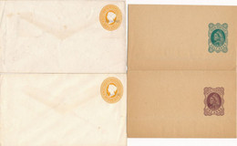 4 Entiers Postaux INDIA POSTAGE Surchargés ZANZIBAR 2 ENVELOPPES 2 BANDES PAPIERS - Zanzibar (1963-1968)