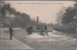 Agen , Le Canal Et Bateau à Vapeur Faisant Le Service Entre Agen Et Bordeaux , Animée - Agen