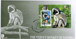 Namibia Mi# Block 59 Used On FDC - Fauna Monkeys - Namibië (1990- ...)