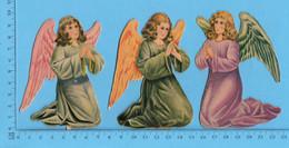 Chromo Decoupis - 3 Statuettes De Bureau En Carton - Anges Priant A Jenoux, AF2-4, AF2-5, AF2-6, - Angels