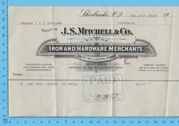 J.S. Mitchell & Co Sherbrooke Que - Bill For Closet $13.50 To Denison Richmond Que - 1912 - Facturas & Documentos Mercantiles