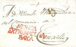 """D.P. 13. 1838 (18 DIC). Carta De Mérida A Trujillo. Marca """"MERIDA/ESTREMADURA/BAXA"""" Nº 10R. Porteo """"5"""" Cuartos En Negro - ...-1850 Prefilatelia"""