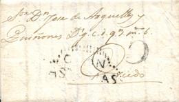 """D.P. 17. 1811 (4 OCT). Carta De Gijón A Oviedo. Marca """"GIJÓN/ASTURIAS"""" Nº 3N Recuadrada En Puntos Discontinuos. Porteo """" - ...-1850 Vorphilatelie"""
