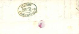 """D.P. 26. 1851 (30 OCT). Carta De Sanlúcar A Cádiz. Marca """"CANDIDO/RECOGE/PLAZA DEL CAÑON/ALMACEN DE ACEITE"""" Nº 11 En Azu - ...-1850 Vorphilatelie"""