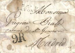 """1817 (19 DIC). Carta De Bayona (Francia) A Madrid. Marca """"P.64 P./BAYONNE"""" En Negro. Porteo """"9R"""" Reales En Negro. 2 Cort - ...-1850 Vorphilatelie"""