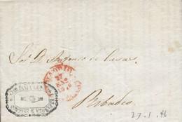"""1846 (27 -ENE). Carta De Madrid A Ribadeo. Fechador En Rojo Nº 19 Y Franquicia De La """"COMPAÑÍA GENERAL ESPAÑOLA DE SEGUR - Franquicia Postal"""
