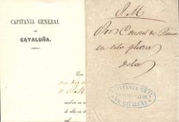 1857 (9 OCT). Carta Correo Interior De Barcelona. Comunicación Del Capitán General De Catalunya Del Cónsul De Roma En Mo - Franquicia Postal