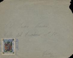 1893. Sobre Circulado A Cádiz. Sello De Franquicia De Melilla Nº 2s, Tipo I. Mat. Del 1er. Cuerpo. 21 Batallón En Azul. - Franquicia Postal