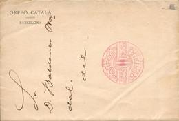 "1913 (1 SEP). Carta Circulada Interior De Barcelona, Con Membrete Impreso ""Orfeó Català"" Y Franquicia En Rojo ""ORFEO/CAT - Franquicia Postal"