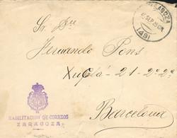 """1925 (25 SEP). Carta De Zaragoza A Barcelona. Franquicia En Violeta """"HABILITACION DE CORREOS/ZARAGOZA"""". Llegada Al Dorso - Franquicia Postal"""
