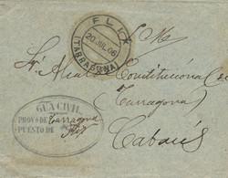 1906 (20 JUL). Sobre Del S.M. De Flix A Cabacés. Fechador Y Franquicia De La Guardia Civil. - Franquicia Postal